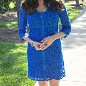 LAUNDRY~Shelli Segal Grosgrain Trim Lace Dress 10